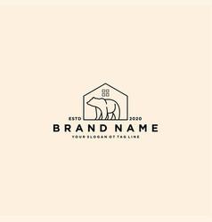 Bear and home logo design vector