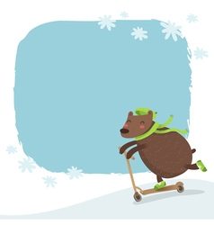bear riding a scooter winter background vector image