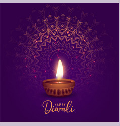 beautiful diwali festival diya on mandala vector image