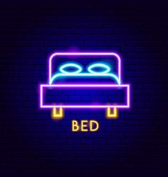 Bed neon label vector
