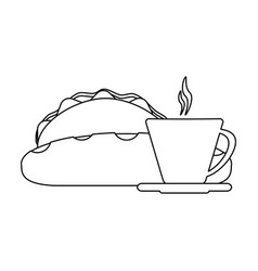 Burriot and coffee with bread black and white vector