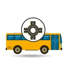 Bus transport public roundabout road vector
