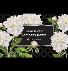 business card with white peony flowers vector image