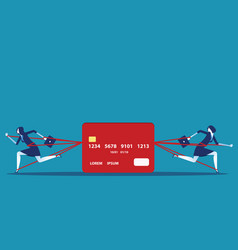 Business people and committed debt with credit vector