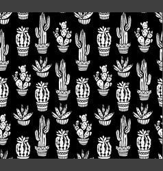 Cactus hand-drawn seamless pattern grunge vector