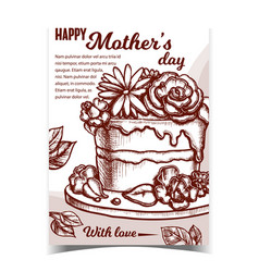 Cake with flowers for mother day banner vector
