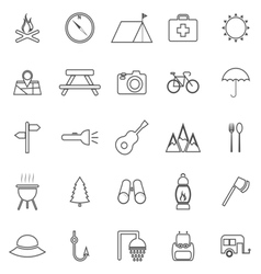 Camping line icons on white background vector image