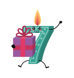 candle birthday number character vector image
