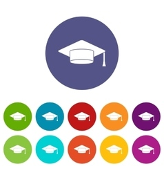 Cap student set icons vector image