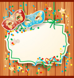 carnival background with label and masks vector image