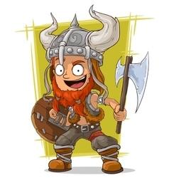 Cartoon redhead viking warrior vector