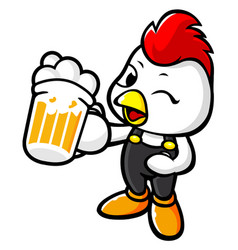 Chicken character holding a beer toast isolated vector