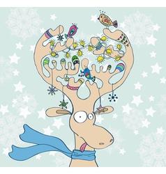 Christmas funny deer vector image
