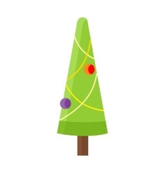 Christmas tree isolated on white cartoon fir vector