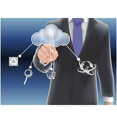 Cloud computing concept finger touching the cloud vector image