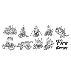 Collection of different campfire ink set vector