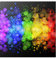 colorful rings of light on black background vector image