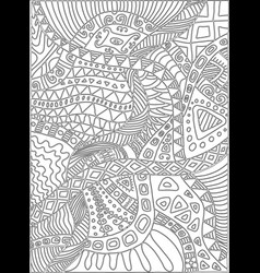Coloring page with scribbles plants pattern vector
