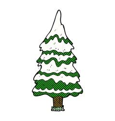 Comic cartoon snowy tree vector