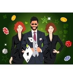 Confident lucky man throws aces vector