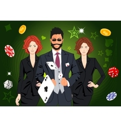 Confident lucky man throws aces vector image