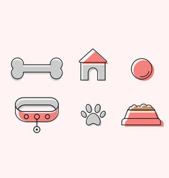 cute dogs icons in line art style vector image