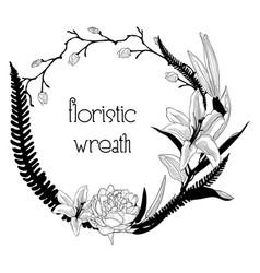 Delicate floristic wreath flower design frame vector