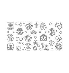 Digital brain outline horizontal banner ai vector