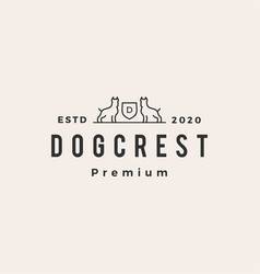 dog coat arms hipster vintage logo icon vector image