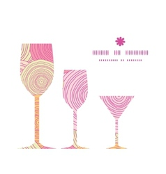 Doodle circle texture three wine glasses vector