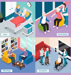 Elderly people isometric concept vector