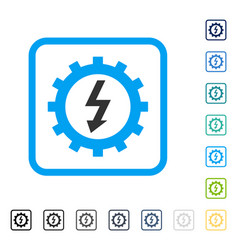 Electric energy cog wheel framed icon vector