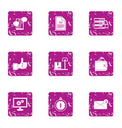 Excellent solution icons set grunge style vector