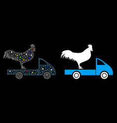 Flare mesh wire frame chicken transport car icon vector
