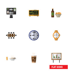 flat icon lifestyle set of timer beer with chips vector image