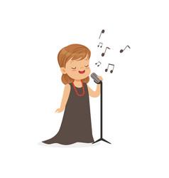 flat of singing little girl vector image