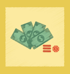 Flat shading style icon money dice chips vector