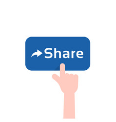 forefinger press on blue share button vector image