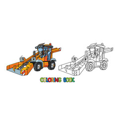 funny snowthrower car with eyes coloring book vector image