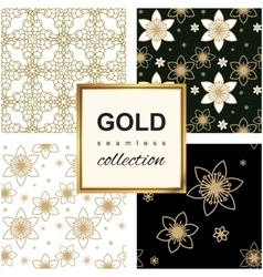 Golden Luxury flower pattern set vector