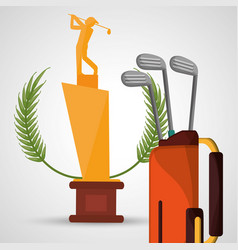 golf trophy bag clubs sport vector image