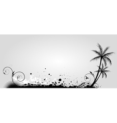 gray banner palm vector image