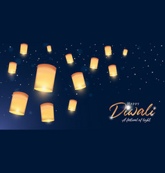 Happy diwali banner indian festival gold lantern vector