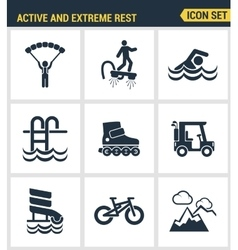 Icons set premium quality of active and extreme vector image