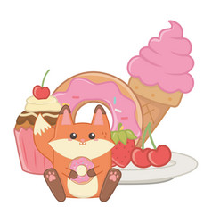 isolated kawaii fox cartoon design vector image