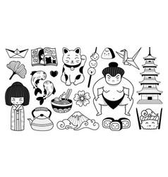 Japanese pagoda geisha sumo wrestler manga and vector