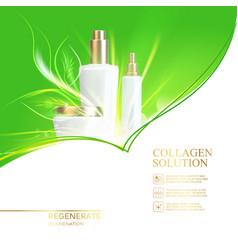Jar of cream on green background shining bio vector