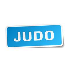 Judo square sticker on white vector