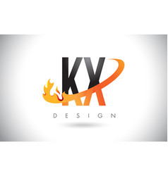 kx k x letter logo with fire flames design and vector image