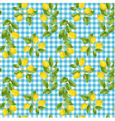 Lemon and check seamless pattern vector